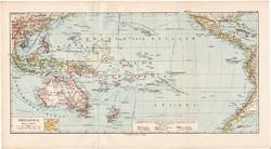 Óceánia térkép 1892, eredeti, Meyers atlasz, német nyelvű, Ausztrália, Csendes - óceán, Új - Záland