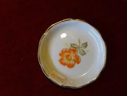 Antik litván porcelán tálka, 8 cm átmérővel.