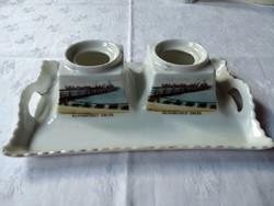 Balatonfüredi emlék porcelán tintatartó 100 éves, sérült, hiányos