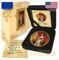 Nagy Britannia 1 Uncia Aranyozott Ezüst Érme, BUNC, 2 Font, 2018.Viktória Királynő