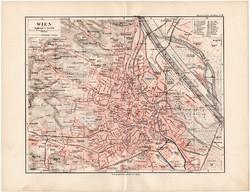 Bécs térkép 1892, eredeti, Meyers atlasz, német nyelvű, Osztrák - Magyar Monarchia, főváros, Wien
