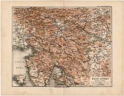 Krain - Isztria térkép 1892, eredeti, Meyers atlasz, német nyelvű, Ausztria, Krainburg