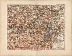 Ausztria (Enns alatt) térkép 1892, eredeti, Meyers atlasz, német nyelvű, monarchia, osztrák, Bécs