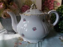 Jelzett Zsolnay teáskanna apró virágokkal