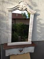 Vintage, Shabby falikonzol faragott tükörrel 37.000 Ft