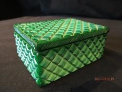 Régi zöld malachit  doboz ékszeres,kártya,stb tartható benne