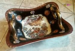 Nagy méretű füles gyümölcstál, Kínai porcelán, gyönyörű madaras mintával, sok aranyozással