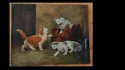 Heyer Artur: Játszadozó cicák. Olaj,vászon .