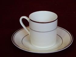 Keleti porcelán kávéscsésze + alátét. Elefántcsont színű, arany szegéllyel.
