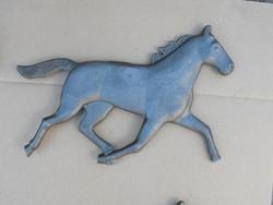 Extra Ritka 26cm kovácsoltvas Kincsem Ló vas cégér reklám lovász öntöttvas lovas szobor
