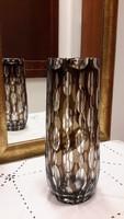 Füst színű kristály üveg váza