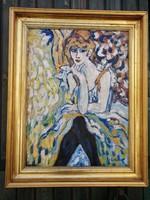 H. Antoine Culbert - Női portré aranyozott keretben