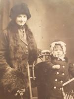 Régi gyerek fotó vintage fénykép kislány női páros kép