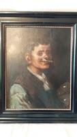 Kasznár Ring Jenő: férfi portré, olaj, farost festmény, 60x 50 cm