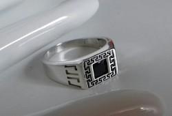 Görög mintás,onix köves, gyönyörű ezüst gyűrű