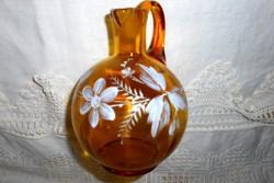Antik  zománcfestett hutaüveg kancsó , szép kézműves darab