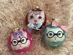 Karácsonyfadísz üveg gömbök cicásoknak :)