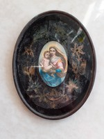 Régi szentkép ovális fali kép Mária