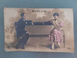 Régi képeslap női férfi fotó 1918