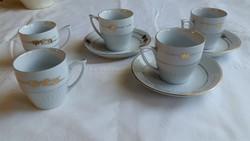 Retro kézzel festett aranyozott kávés csésze, kis tányérral  eladó!