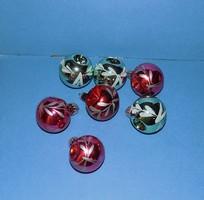 Régi üveg karácsonyfadísz ablakos vagy behúzott gömb csomag 7 db (1)