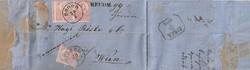 1871. Hajtott levél kőnyomatos bélyegekkel.