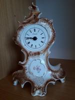 Antik német Sitzendorf barokk porcelán kandallóóra 30 cm