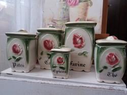 Kerámia fűszeresek rózsákkal