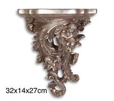 Ezüst színű falikonzol - barokk stílusú falidísz
