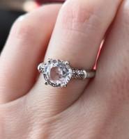Új, szikrázó rózsaszín valódi kunzit és rubin drágaköves 925 ezüst gyűrű
