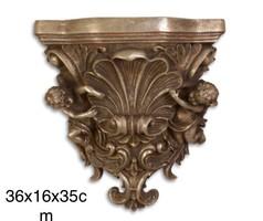 Barokk stílusú puttós falikonzol - falidísz