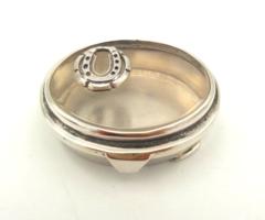 Szerencsehozó ezüst üveg szelence patkóval díszítve