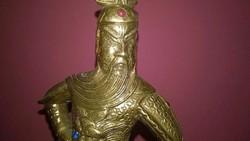 Kínai lovas harcos - tömör rézszobor , polcdísz