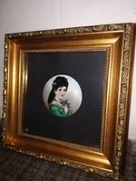 1,-Ft Gyönyörű antik kézzel festett miniatűr porcelán kép!