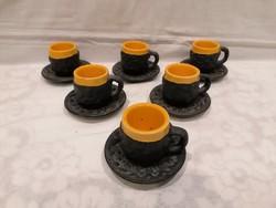 Király 12 részes retro iparművész kerámia csésze készlet