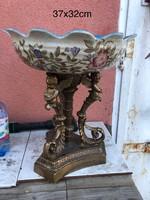 Barokk stílusú gyümölcstàl - porcelàn ès bronz , asztalközép-kínáló