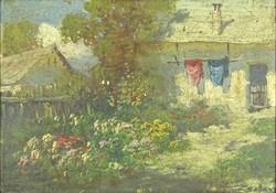 0Y263 Jelzett festő XX. század : Tanyaudvar