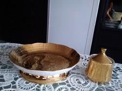 Herendi gyár festője, Koszorúsné arannyal festett asztalközép és cukortartó együtt!