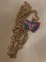 14K tömör arany pillangó medál + lánc