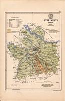 Győr megye térkép 1887 (4), Magyarország, vármegye, atlasz, eredeti, Kogutowicz Manó, nyugat, 28x43
