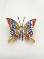 Gyönyorű ezüst pillangó rekeszzománccal