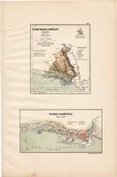 Fiume város térkép (ek) 1890 (4), Magyarország, vármegye, eredeti, Kogutowicz Manó, terület, kikötő