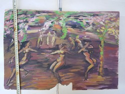 Peti János: Nimfák tánca az erdőben, tempera, nagy, de sérült