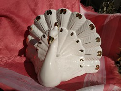 Meseszép porcelán páva szalvéta tartó, virág tartó