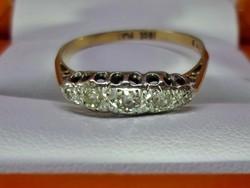 Antik18kt arany platina gyűrű gyémántokkal