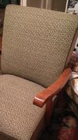 Retro kárpitozott  fakarfás fotel/ 2db, 1950-es évek