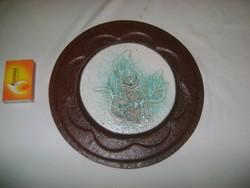 Domború kerámia falikép, falidísz bőr alapon