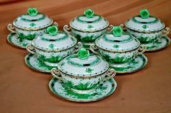 Herendi zöld Indiai kosár mintás 6 db leveses csésze aljjal