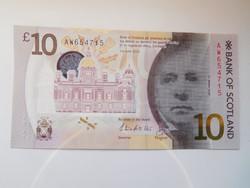Skócia 10 font 2016 UNC polymer