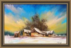 Tanyavilág tél 2olaj festmény olajfestmény szép keretben ingyenes házhoz szállítással